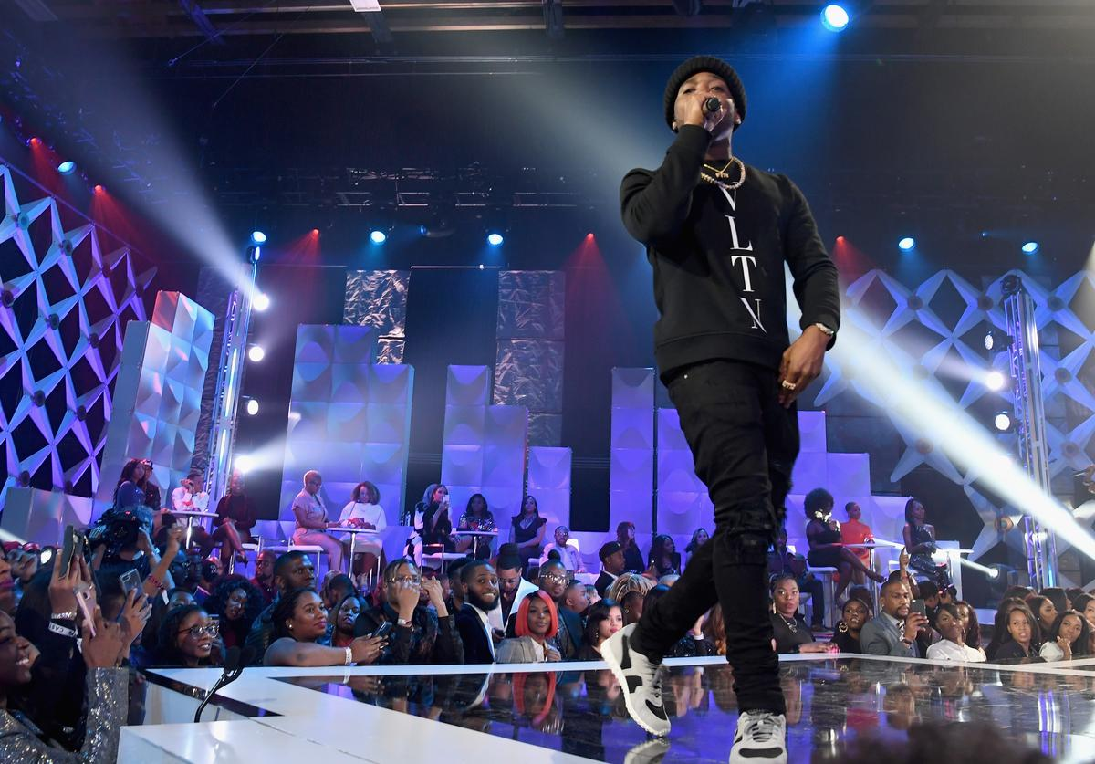 YFN Lucci performs on stage during the BET's Social Awards 2018 at Tyler Perry Studio on February 11, 2018 in Atlanta, Georgia