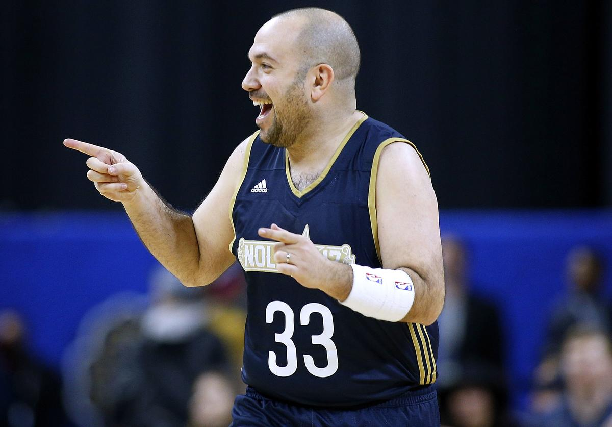 Peter Rosenberg reacts after scoring during the NBA All-Star Celebrity Game at the Mercedes-Benz Superdome on February 17, 2017 in New Orleans, Louisiana