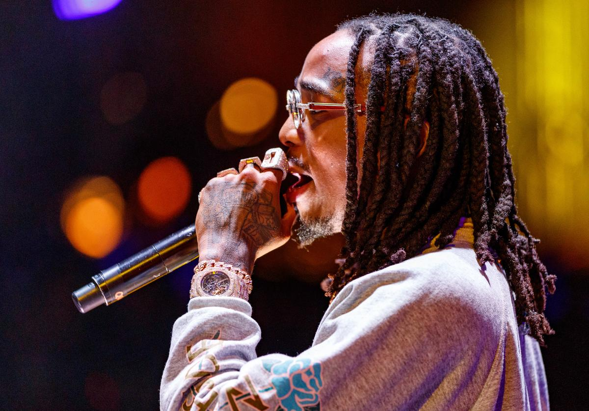 Recording artist Quavo of music group Migos performs onstage during 'All-Star Weekend Kick-Off Party' at Capitol Records Tower on February 15, 2018 in Los Angeles, California.