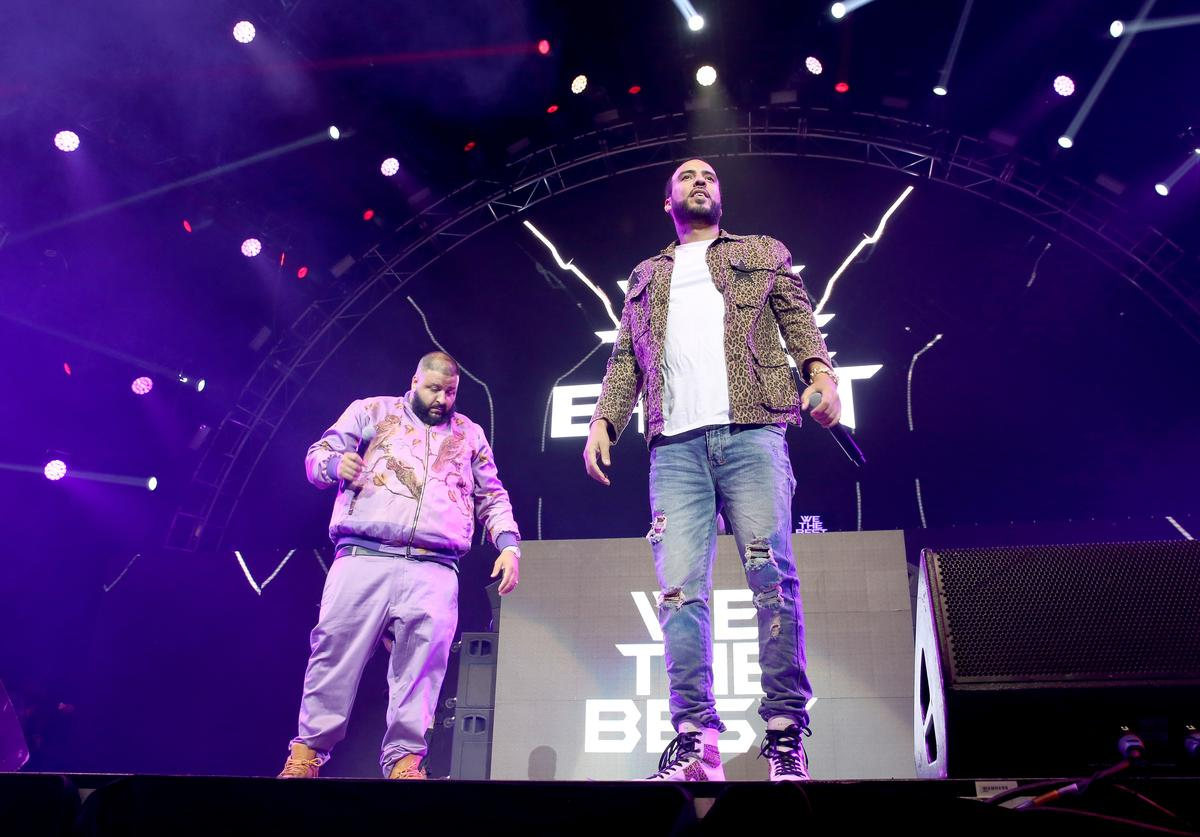 DJ Khaled (L) and French Montana perform onstage at night two of the STAPLES Center Concert, presented by Coca-Cola, during the 2017 BET Experience at LA Live on June 23, 2017 in Los Angeles, California