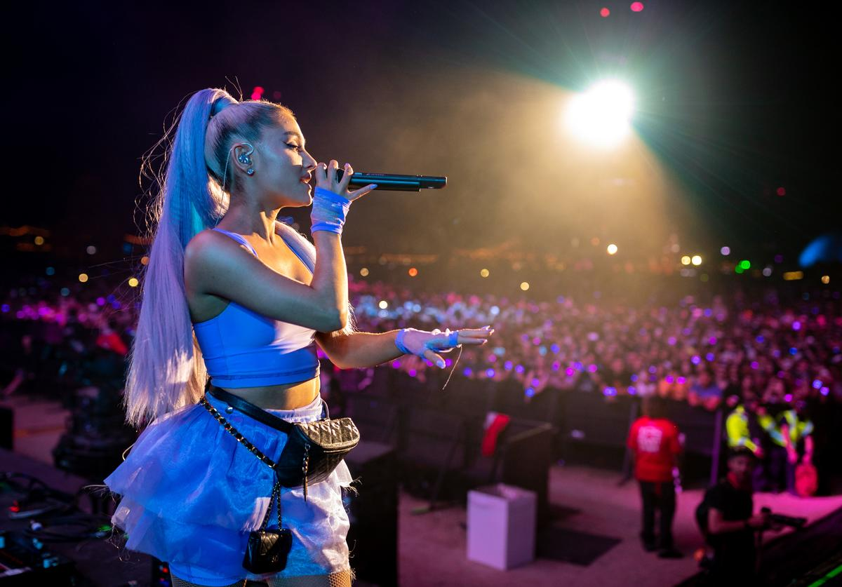 Ariana Grande performs with Kygo onstage during the 2018 Coachella Valley Music And Arts Festival at the Empire Polo Field on April 20, 2018 in Indio, California.