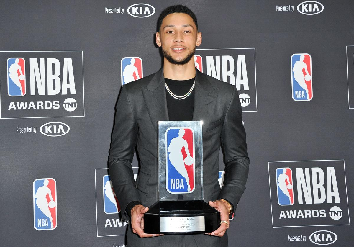 Ben Simmons, winner of the 2017-2018 Rookie of the Year award, poses in the backstage photo room during the 2018 NBA Awards Show at Barker Hangar on June 25, 2018 in Santa Monica, California
