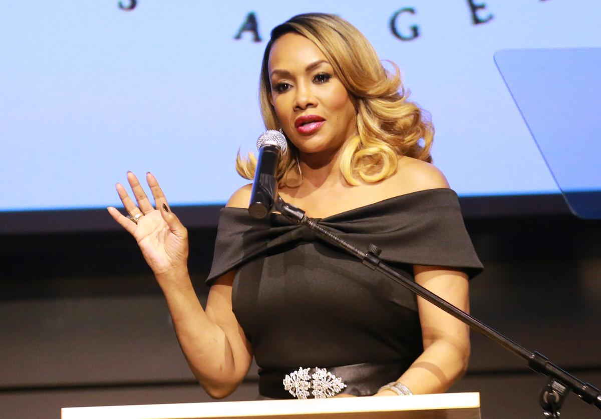 Vivica A. Fox speaks during the 'I Have A Dream' Foundation's 5th Annual Los Angeles' Dreamer Dinner at Skirball Cultural Center on March 18, 2018 in Los Angeles, California