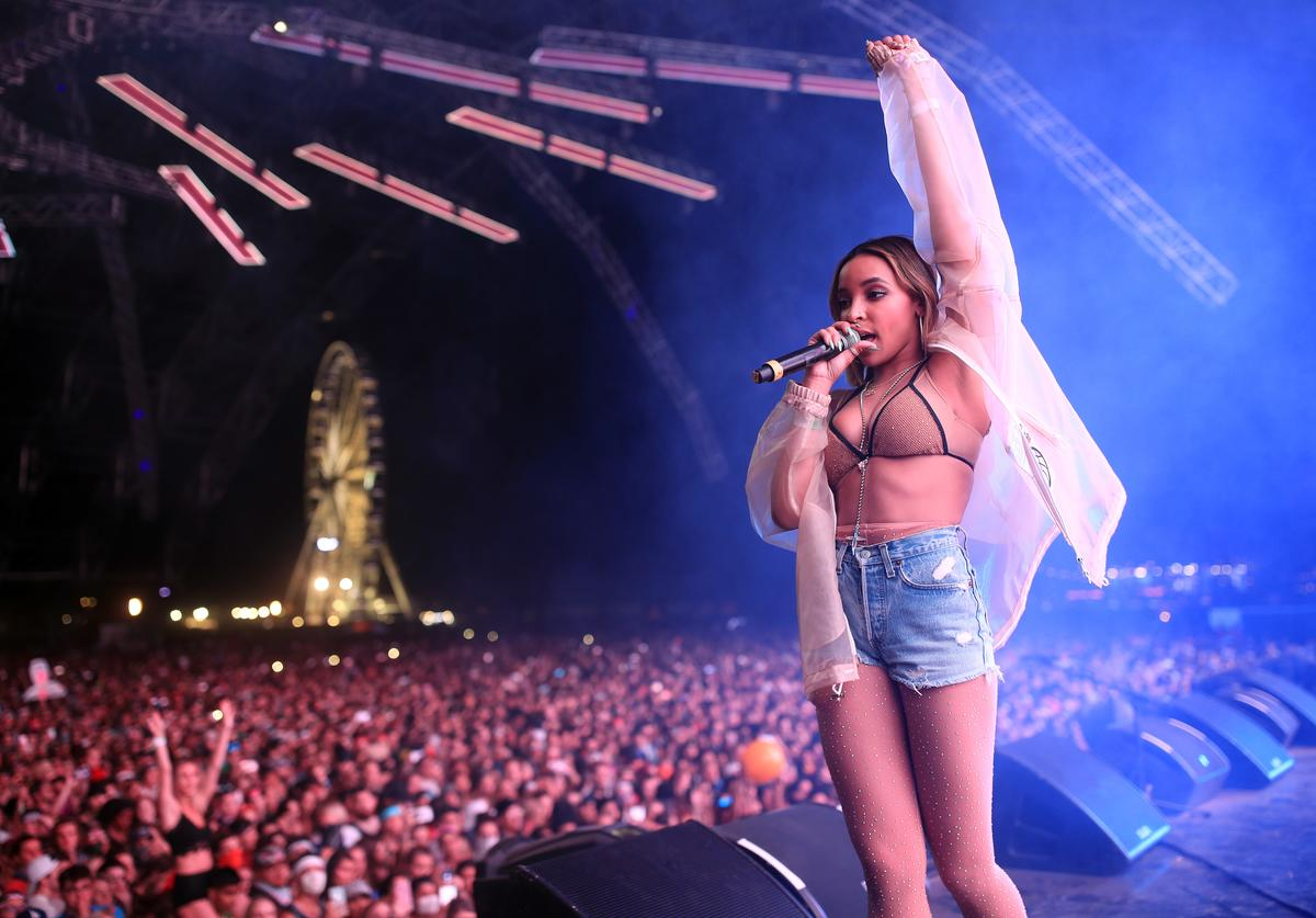 Tinashe performs onstage during the 2018 Coachella Valley Music And Arts Festival at the Empire Polo Field on April 21, 2018 in Indio, California