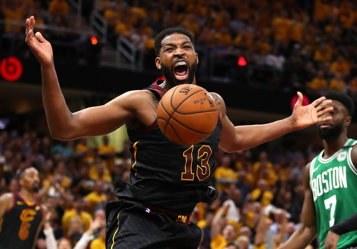 Tristan Thompson #13 of the Cleveland Cavaliers reacts after a dunk in the second quarter against the Boston Celtics during Game Four of the 2018 NBA Eastern Conference Finals at Quicken Loans Arena on May 21, 2018 in Cleveland, Ohio
