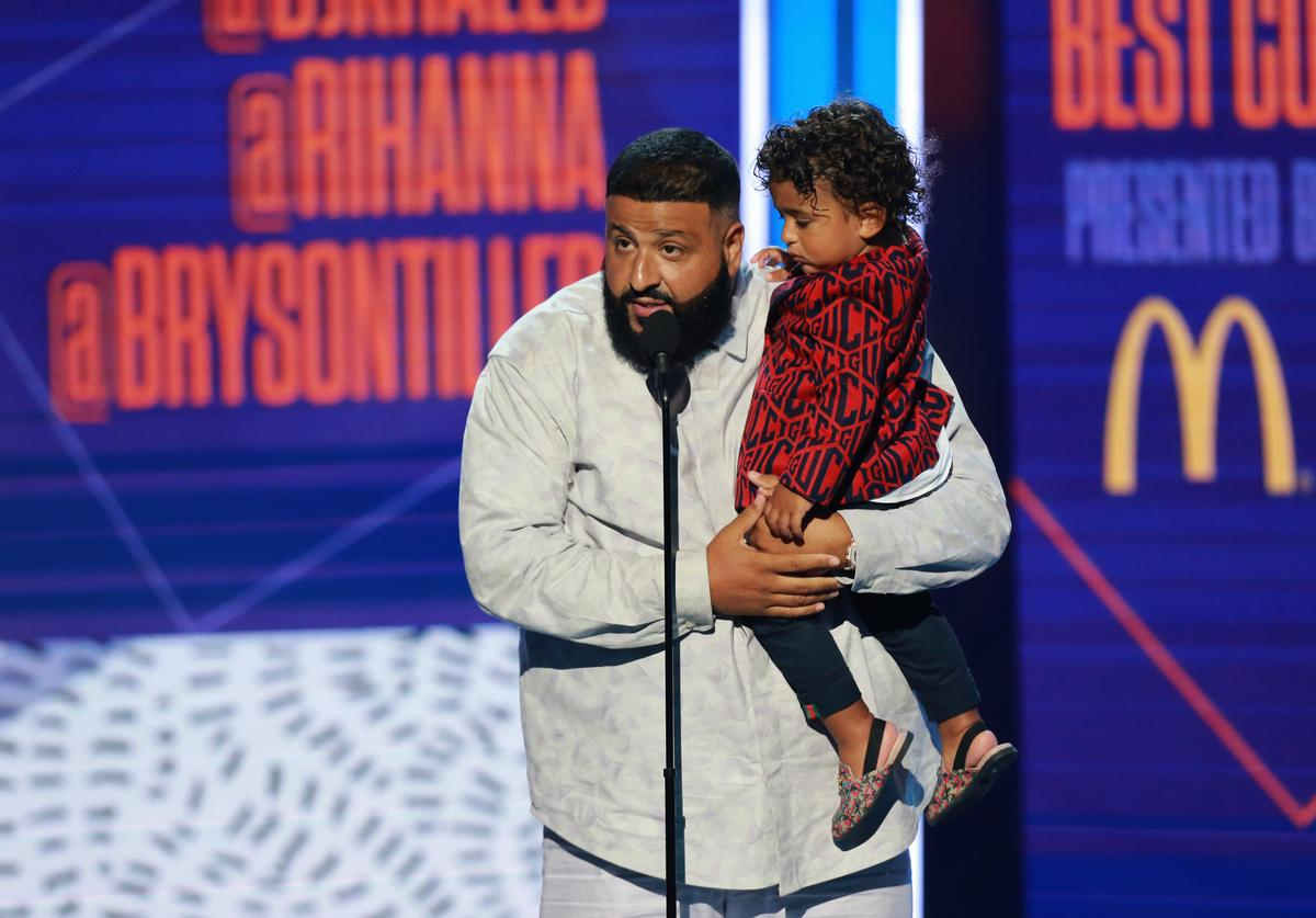 DJ Khaled, with Asahd Tuck Khaled, accepts the Best Collaboration Award for 'Wild Thoughts' onstage at the 2018 BET Awards at Microsoft Theater on June 24, 2018 in Los Angeles, California