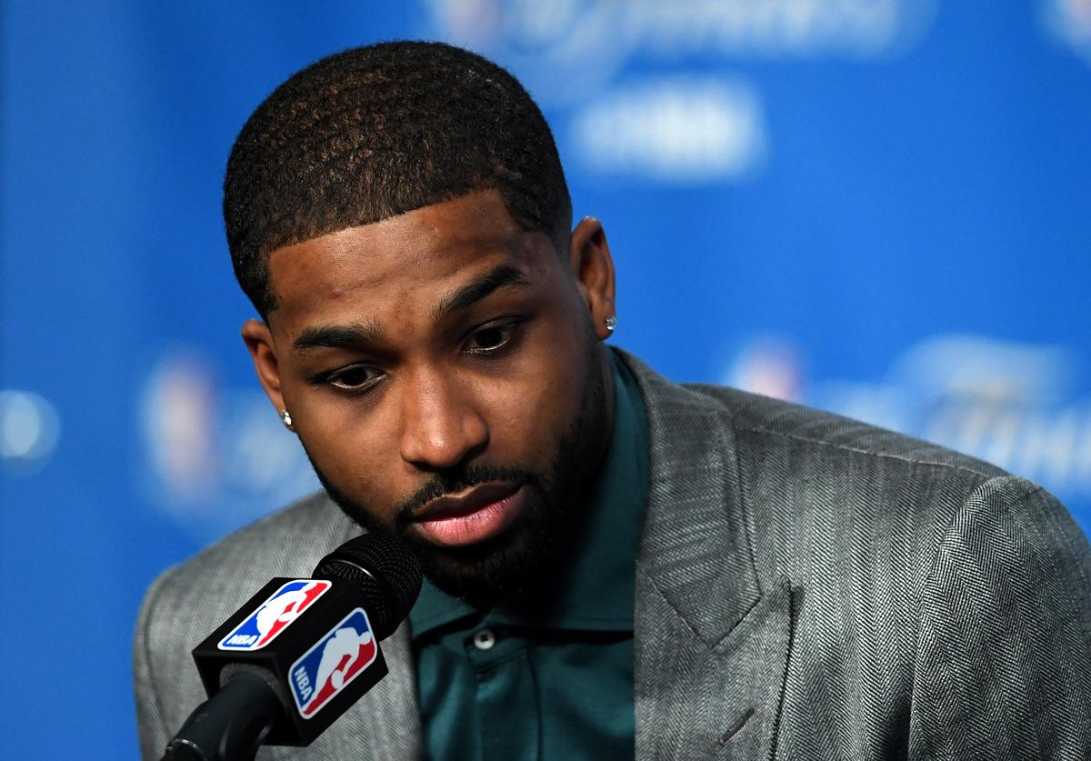 Tristan Thompson #13 of the Cleveland Cavaliers speaks to the media after defeating the Golden State Warriors in Game 6 of the 2016 NBA Finals at Quicken Loans Arena on June 16, 2016 in Cleveland, Ohio
