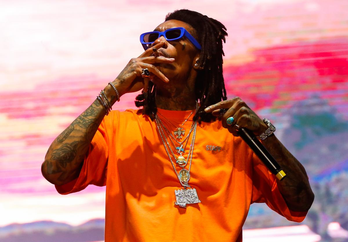 Wiz Khalifa performs during Lollapalooza Sao Paulo 2018 at the Interlagos racetrack on March 25, 2018 in Sao Paulo, Brazil