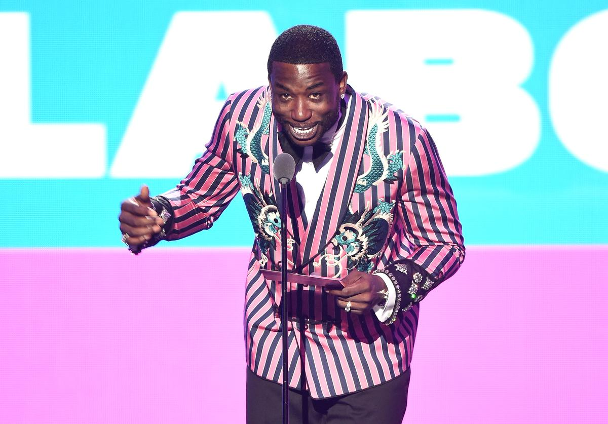 Gucci Mane speaks onstage during the 2018 MTV Video Music Awards at Radio City Music Hall on August 20, 2018 in New York City