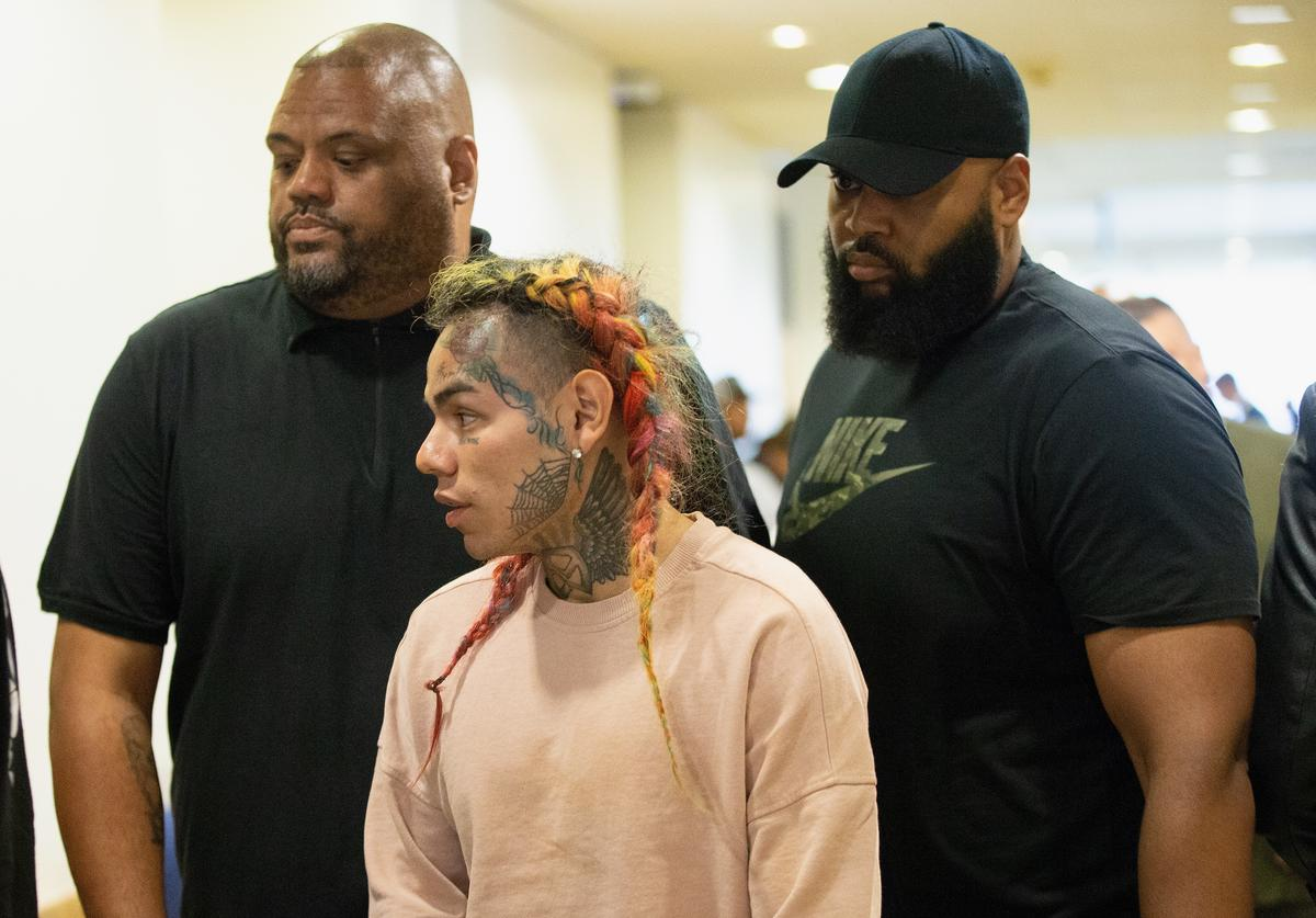 Tekashi69, real name Daniel Hernandez and also known as 6ix9ine, Tekashi 6ix9ine, Tekashi 69, arrives for his arraignment on assault charges in County Criminal Court #1 at the Harris County Courthouse on August 22, 2018 in Houston, Texas