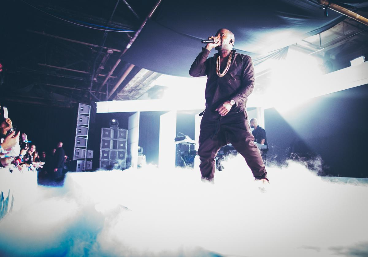Kanye West performs during the Samsung Galaxy Notes II launch at Skylight at Moynihan Station, on October 24, 2012 in New York City