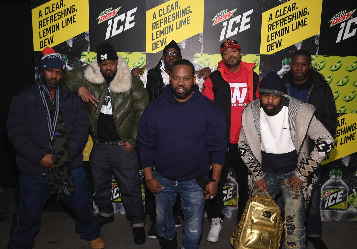 Masta Killa, Ghostface Killah, RZA, Method Man, GZA, (front L-R) Raekwon and Cappadonna of Wu-Tang Clan attend the Mtn Dew ICE launch event on January 18, 2018 in Brooklyn, New York