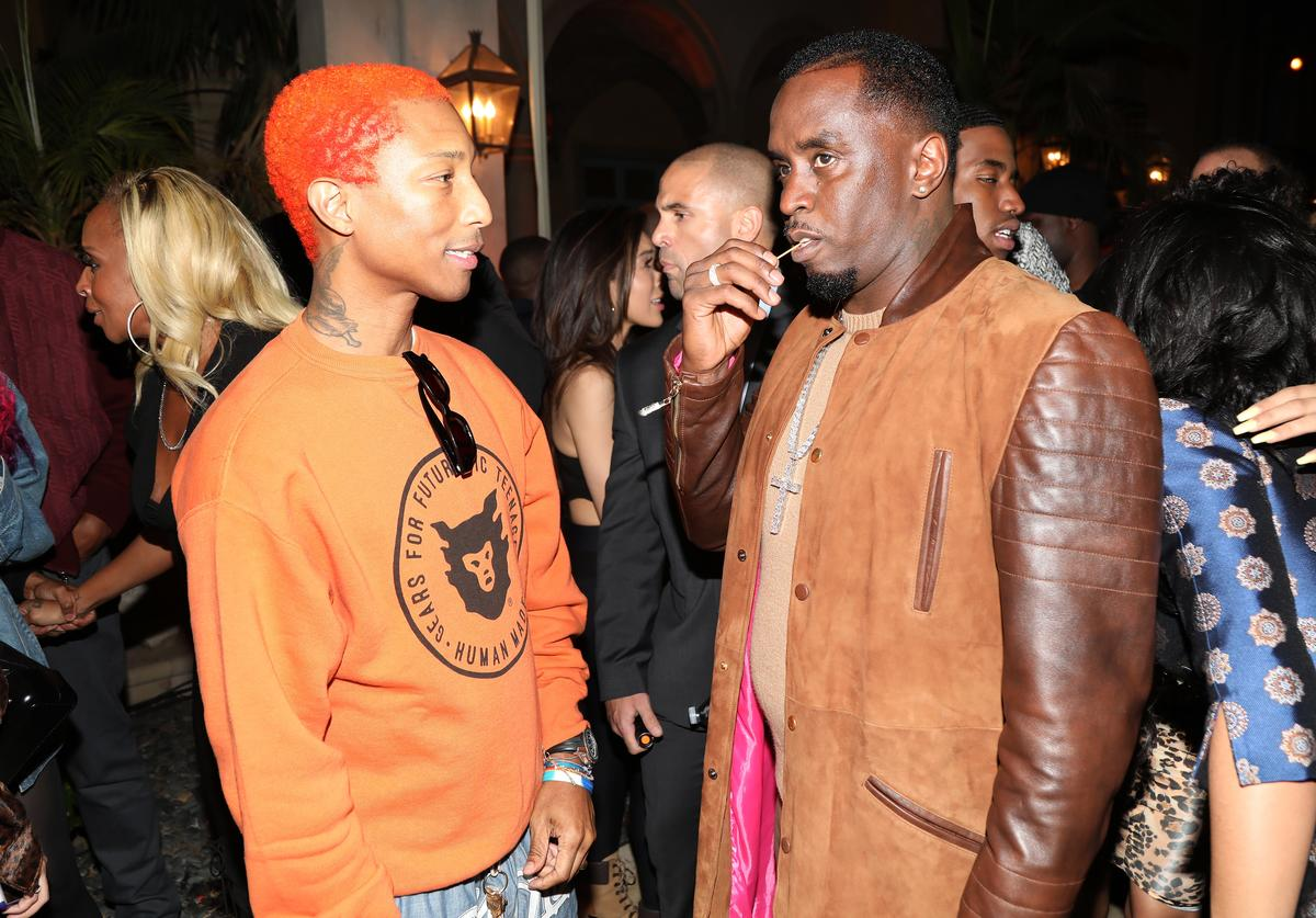 Pharrell Williams and Sean 'Diddy' Combs attend The Four cast Sean Diddy Combs, Fergie, and Meghan Trainor Host DJ Khaled's Birthday Presented by CÎROC and Fox on December 2, 2017 in Beverly Hills, California