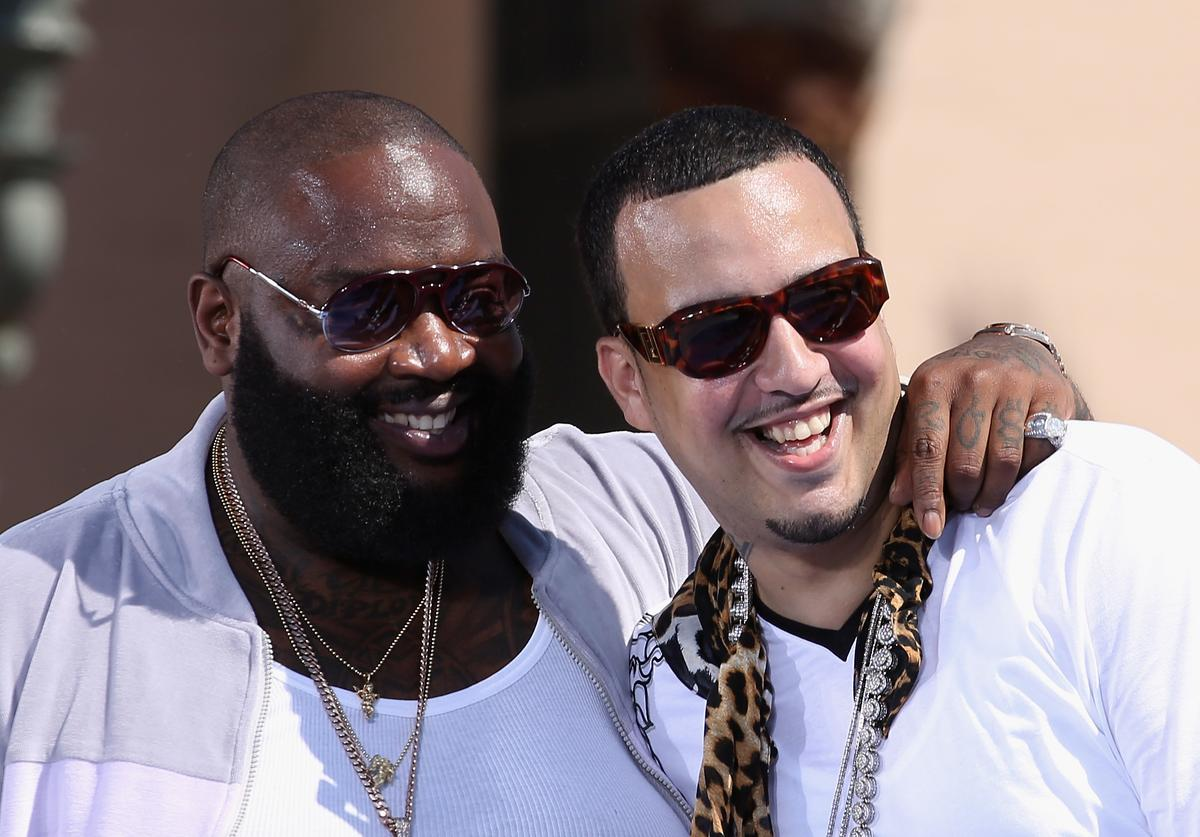 French Montana and Rick Ross perform on stage at the 2012 BET Awards at The Shrine Auditorium on July 1, 2012 in Los Angeles, California
