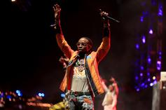"""Quavo Celebrated """"Bad And Boujee"""" Going Platinum By Sitting Courtside Last Night"""
