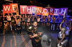 Drake Spotted Chilling With Raptors Players On Championship Float