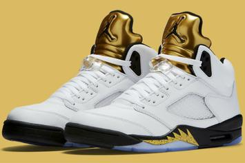 "Release Reminder: The Olympic ""Gold Coin"" Air Jordan 5 Releases Tomorrow"