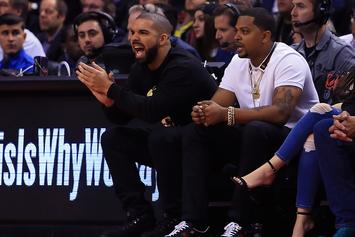 """Drake Spotted Rockin' New """"Scorpion"""" Chain & Yeezy Boots At Raptors Game"""