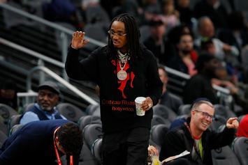 Quavo Shows Off His Drip At Atlanta Hawks Game