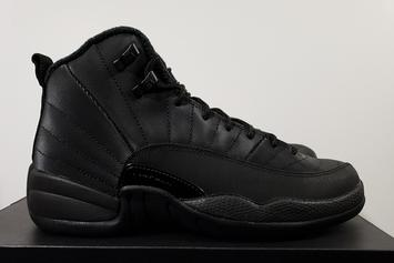 Winterized Air Jordan 12 Releasing In Triple Black Colorway: New Images