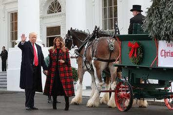 Melania Trump Places Blood Red Christmas Trees In White House & Causes Uproar
