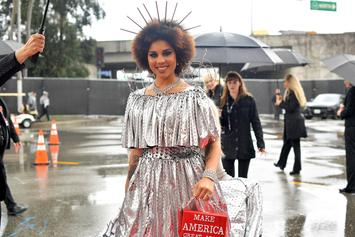 Joy Villa Dresses Up As Trump's Mexican Border Wall At Grammys