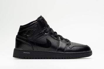"Air Jordan 1 Mid Appears In ""Deep Black"" Colorway: Detailed Photos"