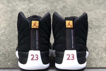 "Air Jordan 12 ""Reverse Taxi"" Releasing With A Smooth Black Suede: Photos"