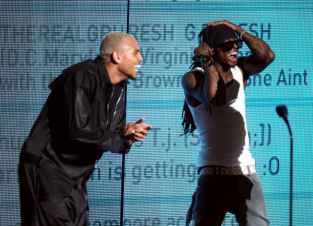 Chris Brown and Lil Wayne at BET Awards 2011