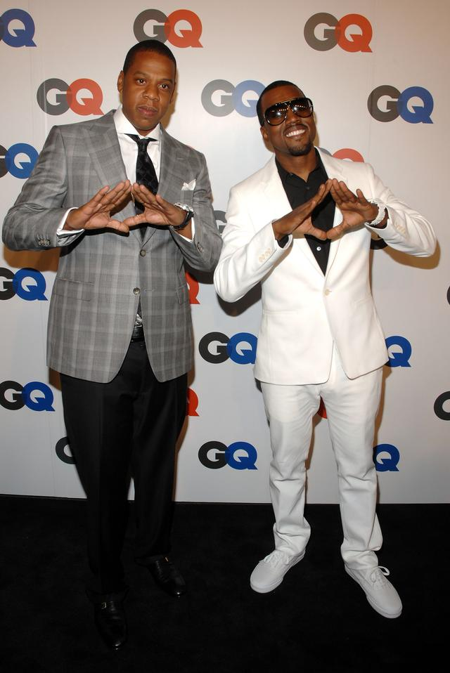 Jay Z and Kanye West throwing up the roc in 2007