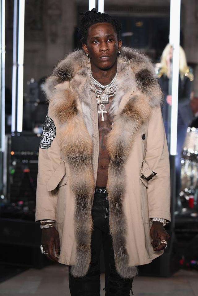 Young Thug walks in Philipp Plein runway 2017