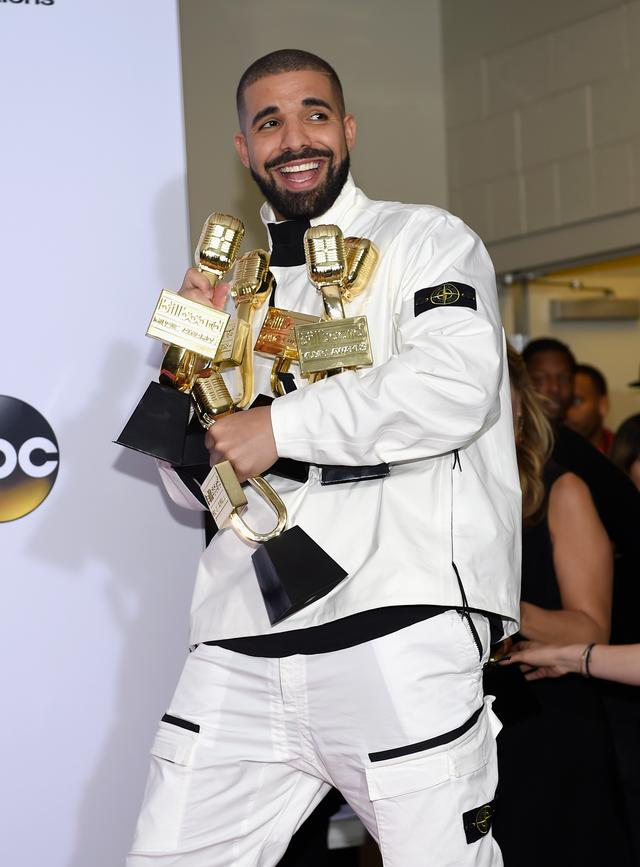 Drake with all his trophies