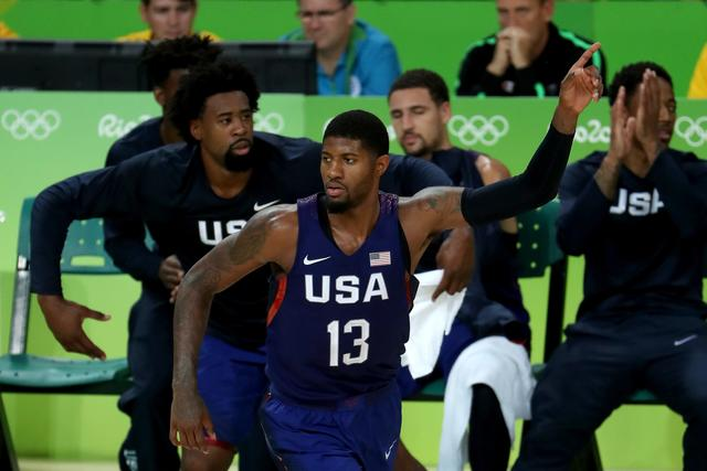 Paul George #13 of United States reacts after a shot against Serbia during the Men's Gold medal game on Day 16 of the Rio 2016 Olympic Games at Carioca Arena 1 on August 21, 2016 in Rio de Janeiro, Brazil