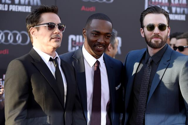 Robert Downey Jr, Chris Evans at Captain America Civil War premiere