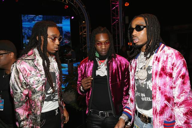 Rappers Takeoff, Offset and Quavo of Migos attend the BET Hip Hop Awards 2017 at The Fillmore Miami Beach at the Jackie Gleason Theater on October 6, 2017 in Miami Beach, Florida.