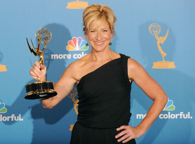Edie Falco poses with her Emmy