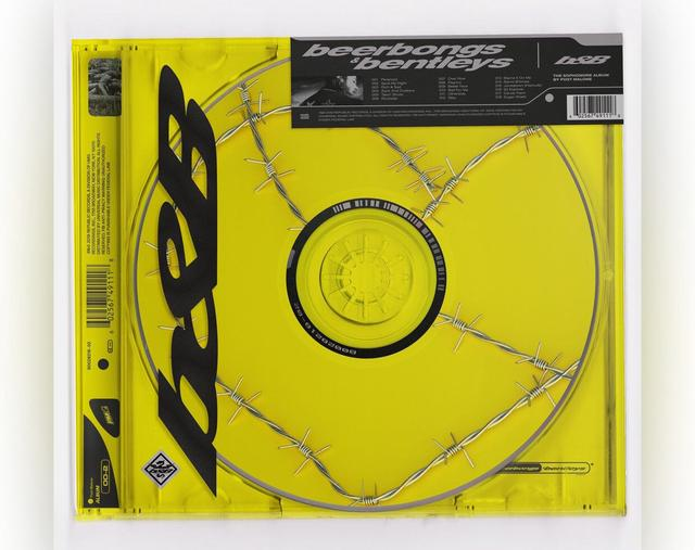 "Post Malone ""beerbongs & bentleys"" album cover"