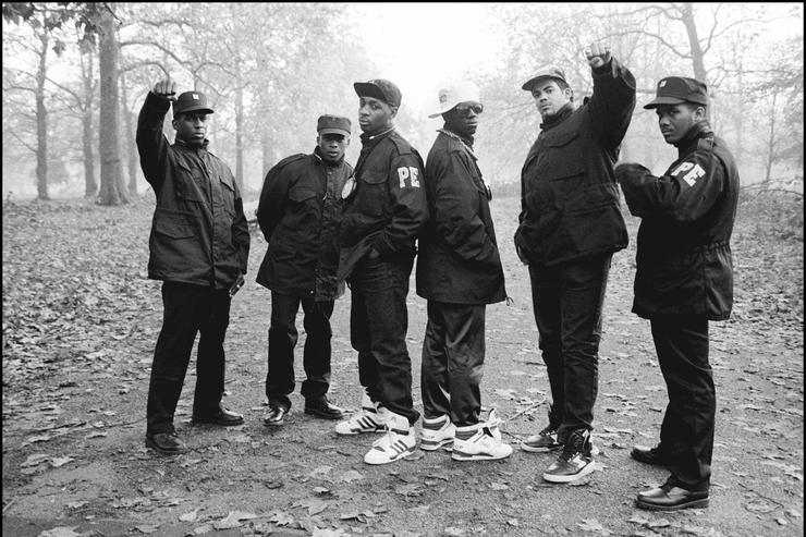 HYDE PARK Photo of Flavor FLAV and Chuck D and PUBLIC ENEMY, B&W Posed