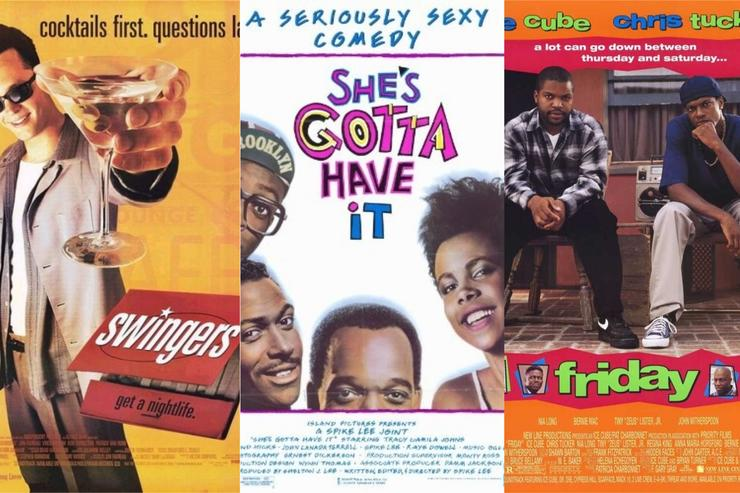 "Movie posters for ""Swingers,"" ""She's Gotta Have It"" and ""Friday"""