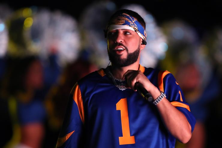 Rapper French Montana performs during halftime in the NFC Divisional Playoff game