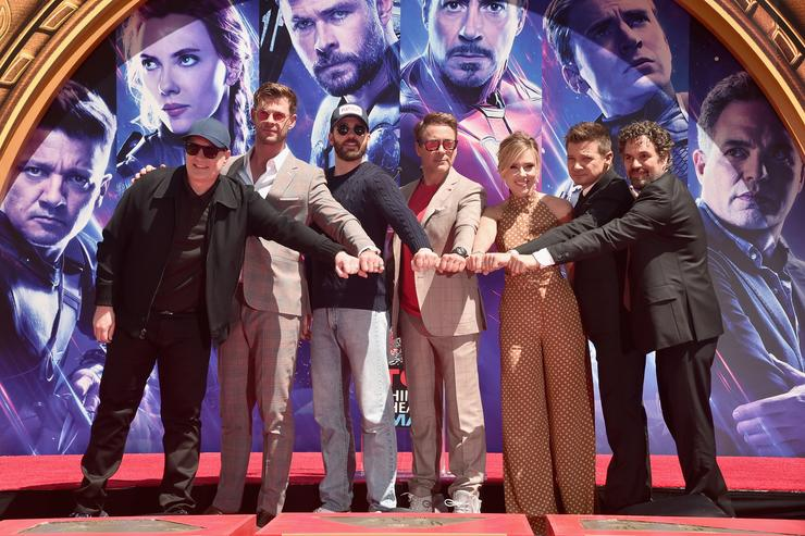 """Marvel Studios' """"Avengers: Endgame"""" stars President of Marvel Studios/Producer Kevin Feige, Chris Hemsworth, Chris Evans, Robert Downey Jr., Scarlett Johansson, Jeremy Renner and Mark Ruffalo at the Hand And Footprint Ceremony at the TCL Chinese Theatre on April 23, 2019 in Hollywood, California."""