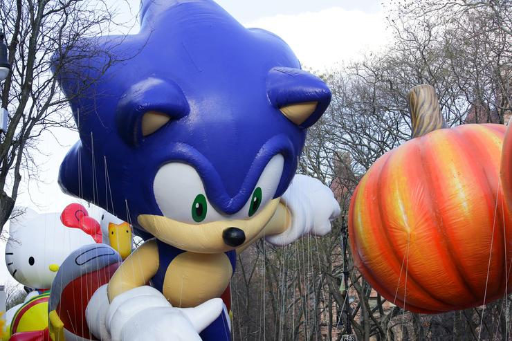 The Sonic the Hedgehog balloon is seen during the 87th Annual Macy's Thanksgiving Day Parade