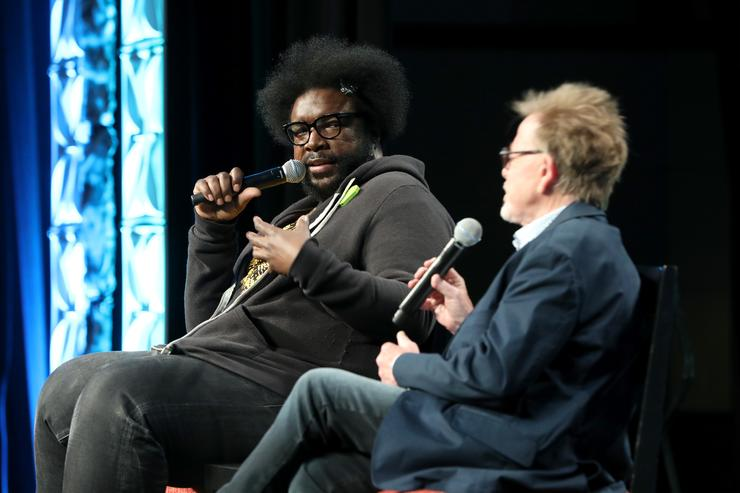 Questlove and ASCAP President and Chairman Paul Williams speak onstage