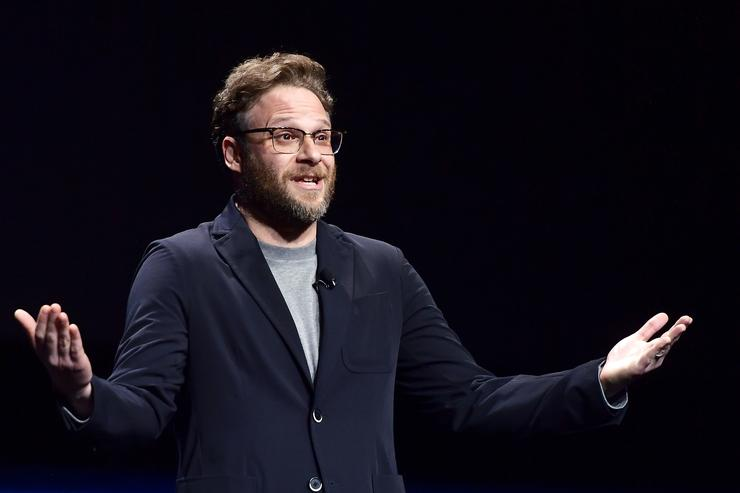 """Seth Rogen speaks onstage at CinemaCon 2019 Lionsgate Invites You to An Exclusive Presentation and Screening of """"Long Shot"""" at The Colosseum at Caesars Palace during CinemaCon, the official convention of the National Association of Theatre Owners, on April 4, 2019 in Las Vegas, Nevada."""