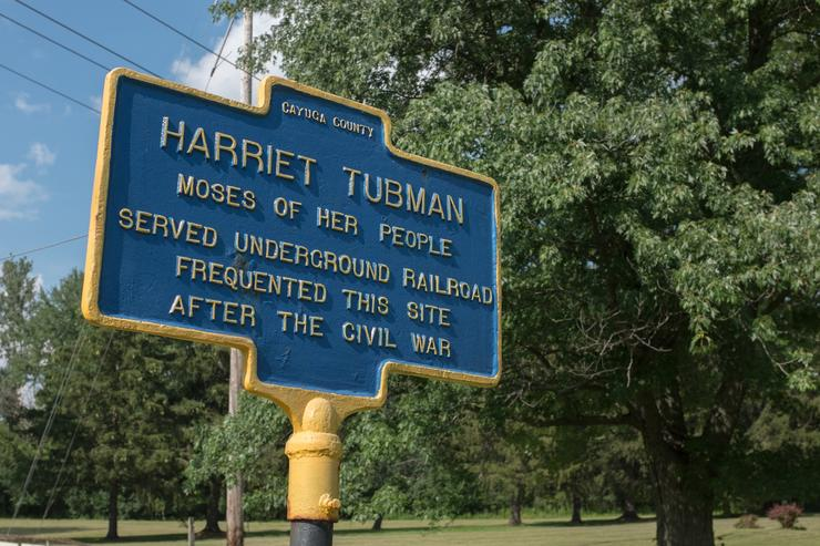 A sign marking the historic spot where American abolitionist and humanitarian Harriet Tubman (1820-1913) lived, served and frequented in Auburn, New York - the site contains Tubman's former home and the home for the aged that she set up to care for the needy