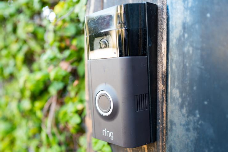 Close-up of Ring doorbell, equipped with a camera and machine learning capabilities, installed outside a home in the Marina Del Rey neighborhood of Los Angeles, California, October 21, 2018